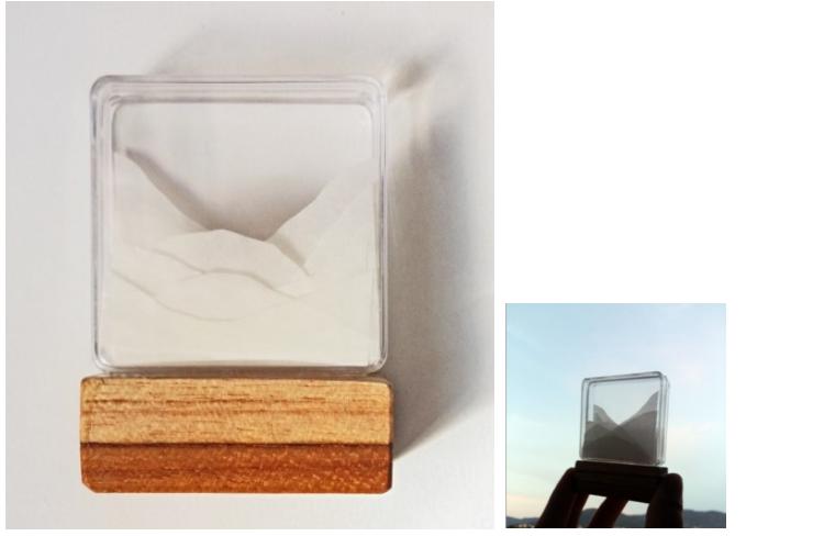 Anna Moraes. Micropaisagem Neblina. Madeira, papel vegetal e acrílico. 5,5x7x2cm. Objeto
