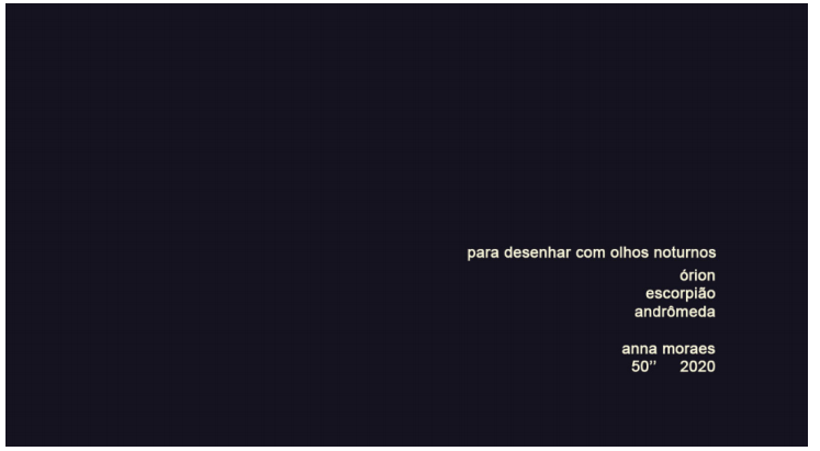 Anna Moraes. Para desenhar com olhos noturnos. 50''. Videoarte. Stopmotion. 2020