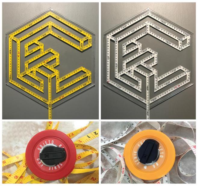 Jan M.O. - série EGO, objeto 6 duas medidas - Objeto - trenas métricas e fibras de vidro com aplicação de adesivo vinílico, inseridas em